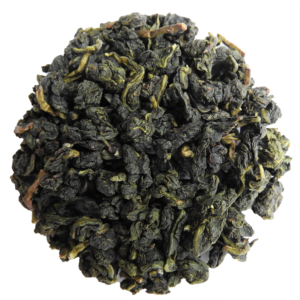 Oolong Tea loose leaf in circle on white background.