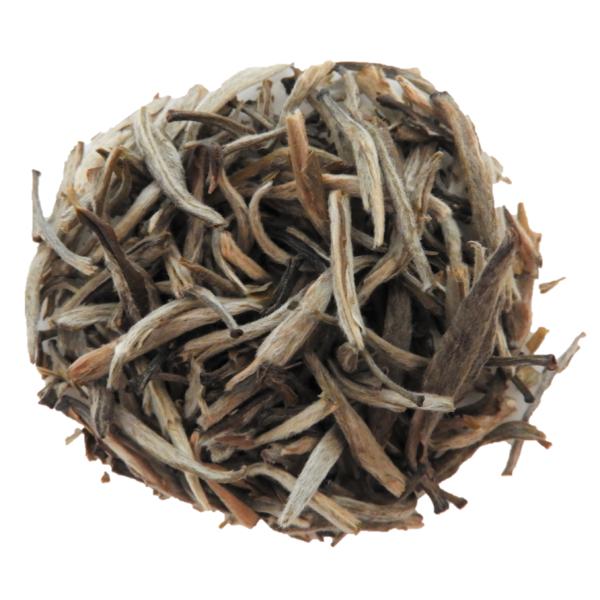 Jasmine Silver Needle tea on white background.