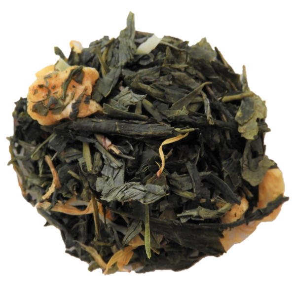 Green tea with fruity pieces on white background.