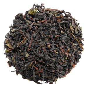 Darjeeling tea in circle with white background.