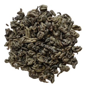 Loose leaf gunpowder green tea on white background.