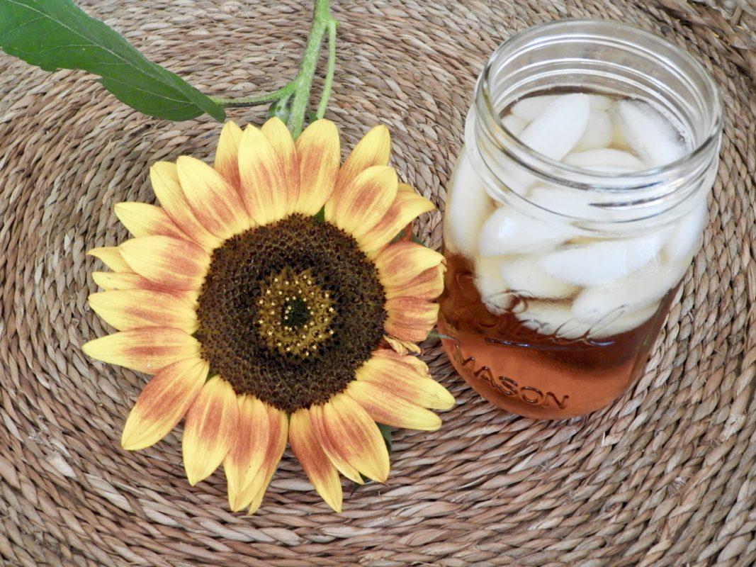 Iced tea with sunflower.