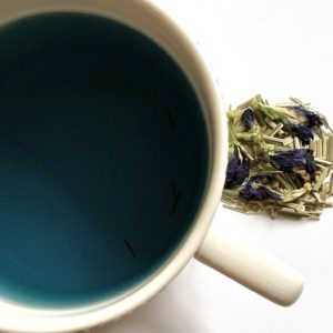 Lemongrass and butterfly pea flower tea.