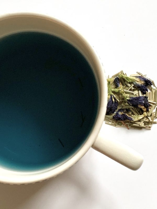 Lemongrass and butterfly pea flower tea.