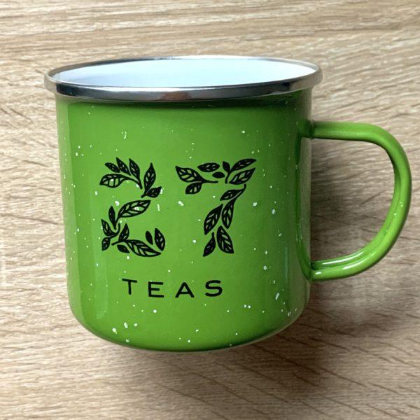Green camp mug with 27Teas logo in black