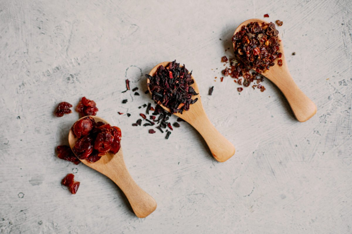 Hibiscus, rosehips, and cranberries