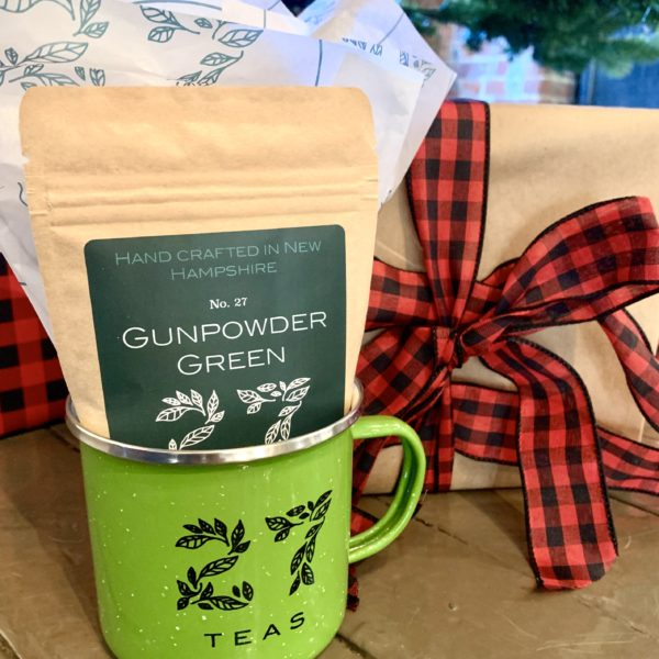 Speckled Camp Mug with bag of tea