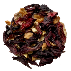 Orange Hibiscus tea on white background.