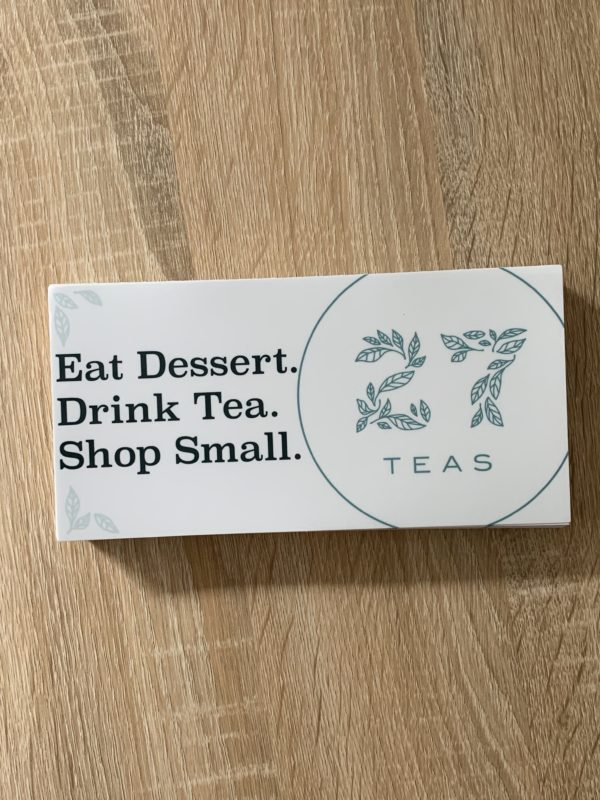 Tea bumper sticker.