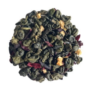Lemon Raspberry loose leaf tea on white background